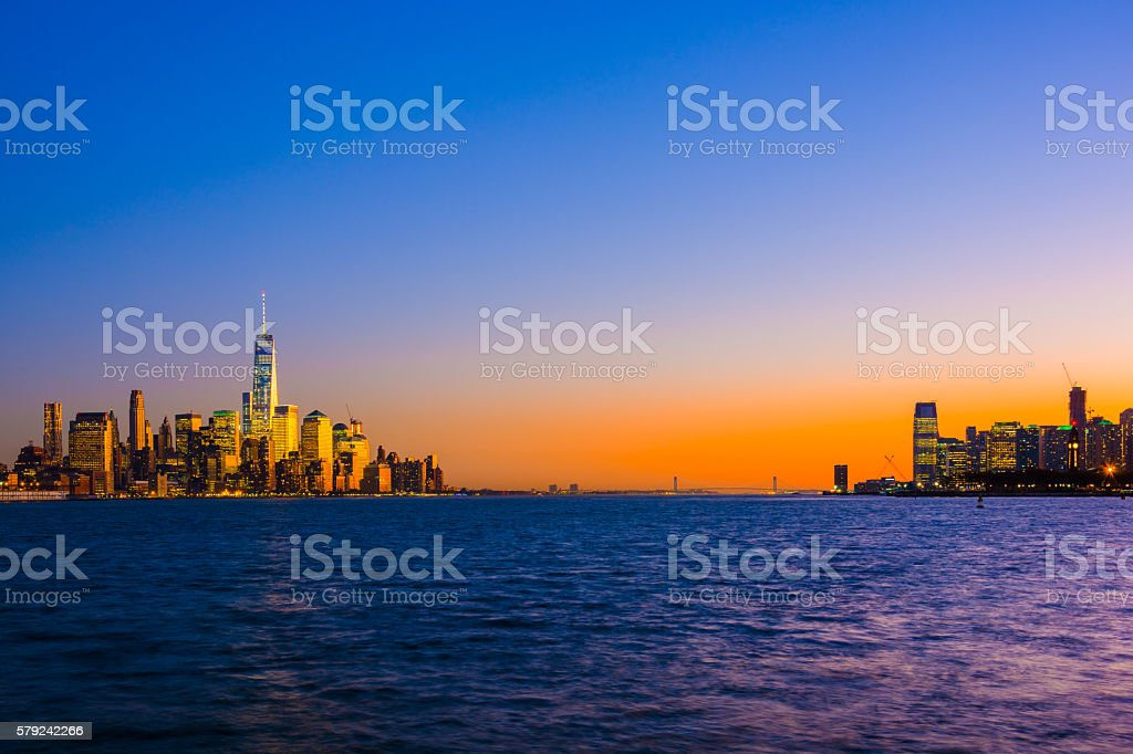 Lower Manhattan, the Hudson River, and Jersey City at Sunset stock photo
