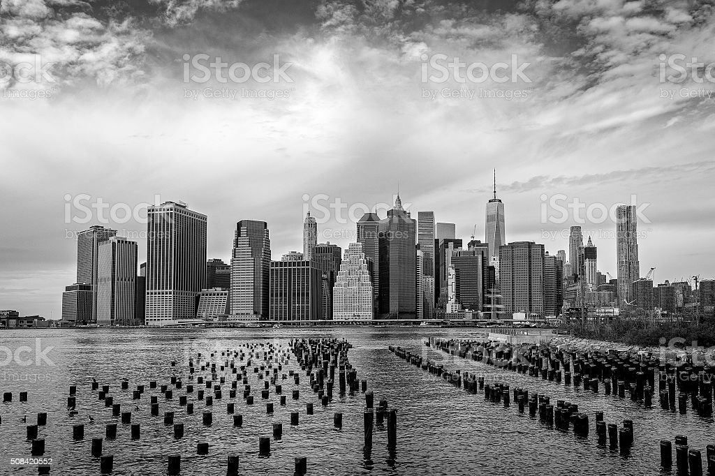 Lower Manhattan - Winter B&W stock photo