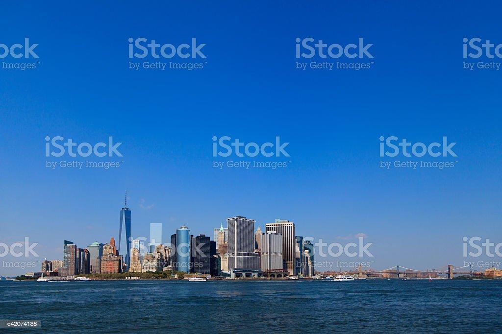Lower Manhattan with Brooklyn Bridge stock photo