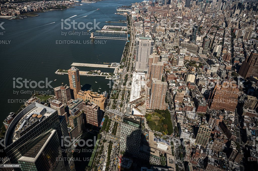 Lower Manhatten and Hudson River, New York City, United States stock photo
