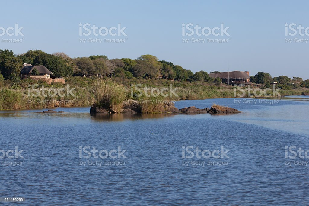Lower Sabie rest camp at the Sabie river stock photo