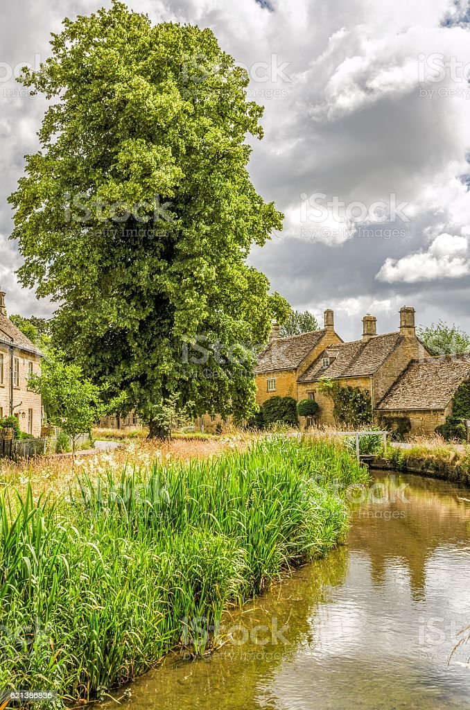 Lower Slaughter in the Cotswolds stock photo