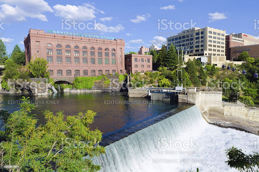 Lower Spokane Falls in Washington State stock photo
