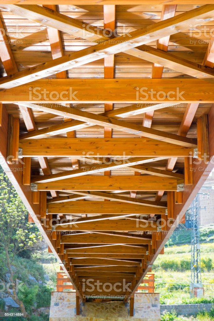 Lower structure of a wooden bridge stock photo