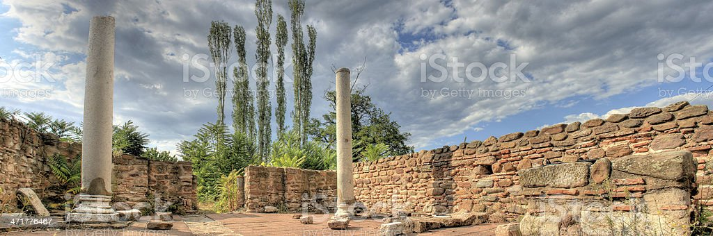 lower view of Ancient ruins church, Macedonia, Roman Cardo street, royalty-free stock photo