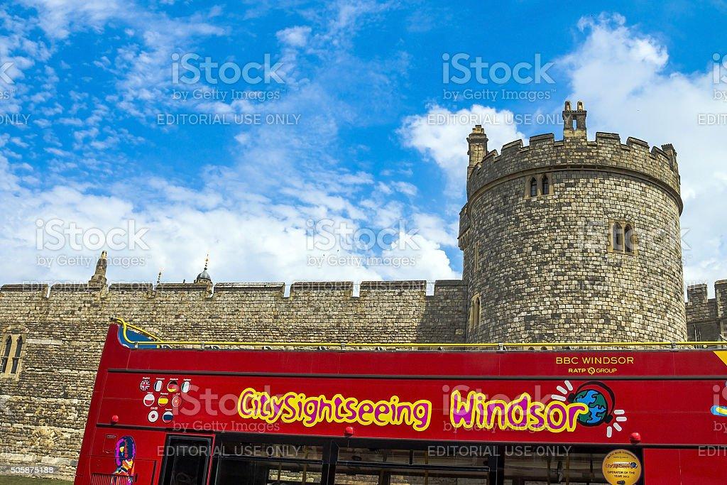 Lower Ward in medieval Windsor Castle. Berkshire. UK stock photo