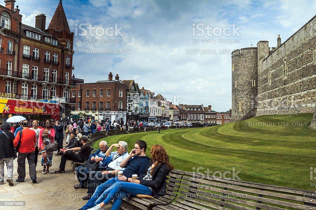 Lower Ward in medieval Windsor Castle stock photo