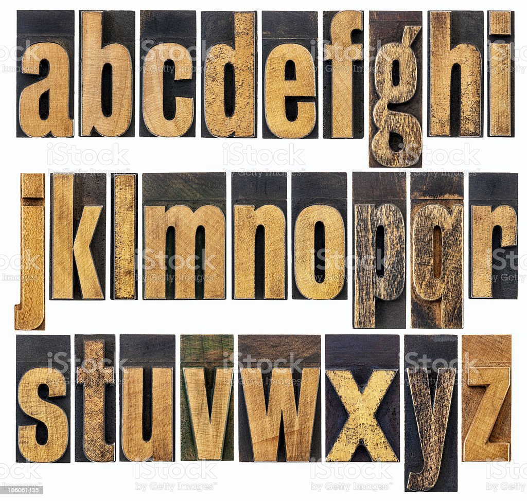 lowercase alphabet in wood type stock photo