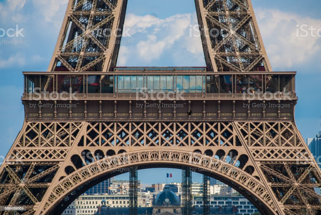 Lowest arch of Eiffel Tower Tour Eiffel blue sky steel structure stock photo