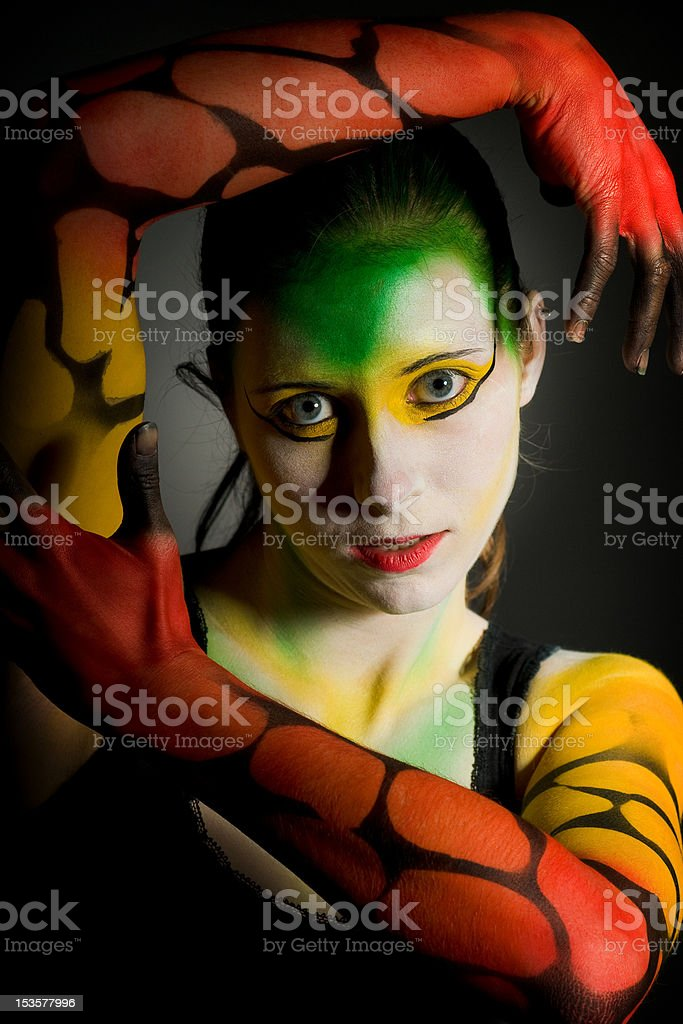 lowkey bodypainting girl royalty-free stock photo