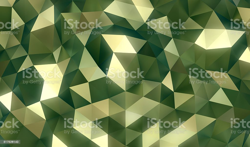 Low-poly abstract green - golden background stock photo