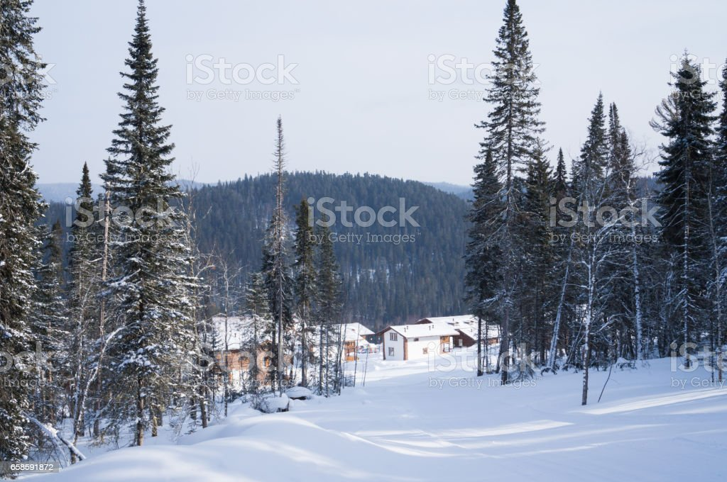 Low-rise houses are situated among the valleys and forests of winter stock photo