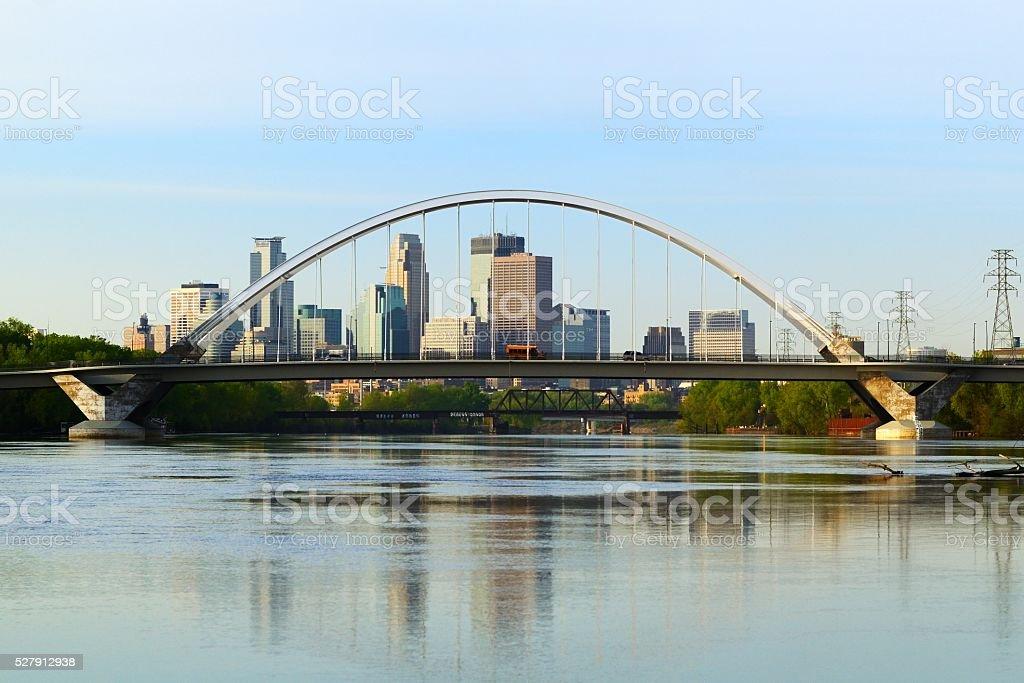 Lowry Avenue Bridge in Minneapolis stock photo