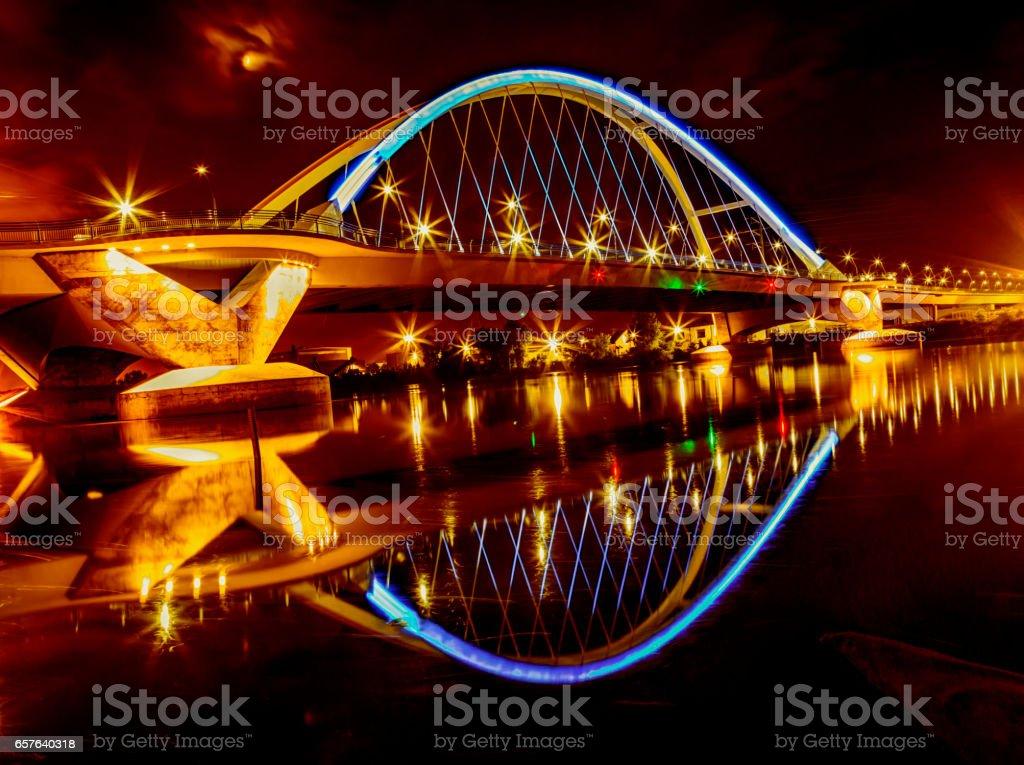 Lowry Avenue Bridge Reflections stock photo