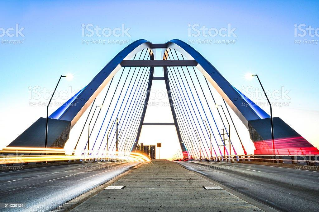 Lowry Bridge Light Trails in Minneapolis, Minnesota at Dusk stock photo