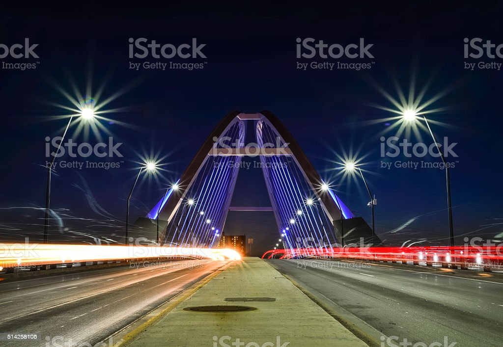 Lowry Bridge Lit at Night with Light Trails in Minneapolis stock photo