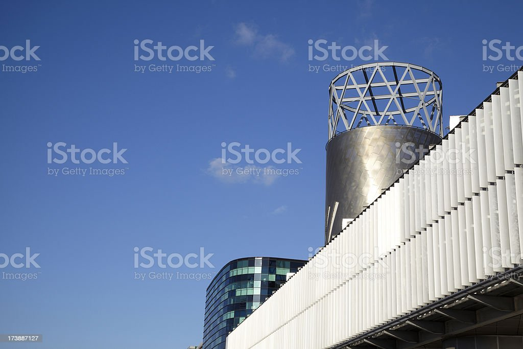 Lowry Centre Roof, Salford, with blue clear sky stock photo