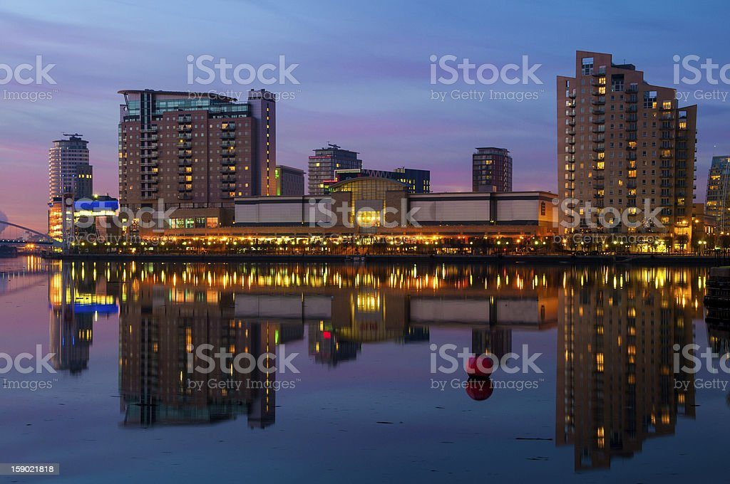 lowry salford quays reflection stock photo