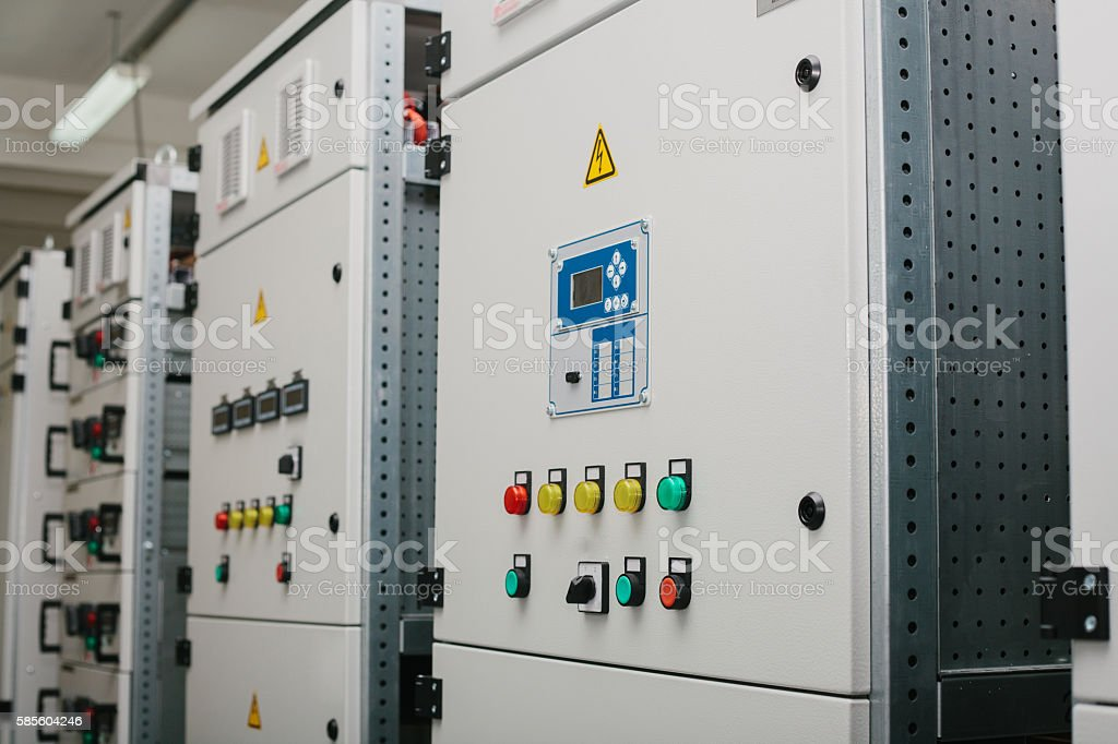 Low-voltage cabinet. Uninterrupted power. Electrical power. stock photo