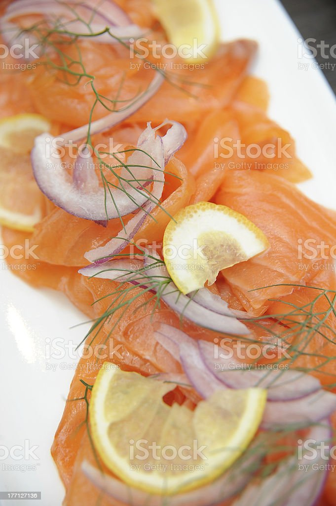 Lox with Dill and Lemon royalty-free stock photo