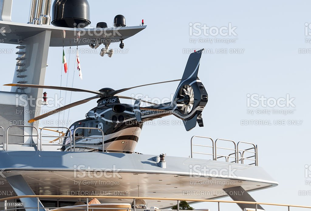 Loxury Yacht With Helicopter Onboard stock photo