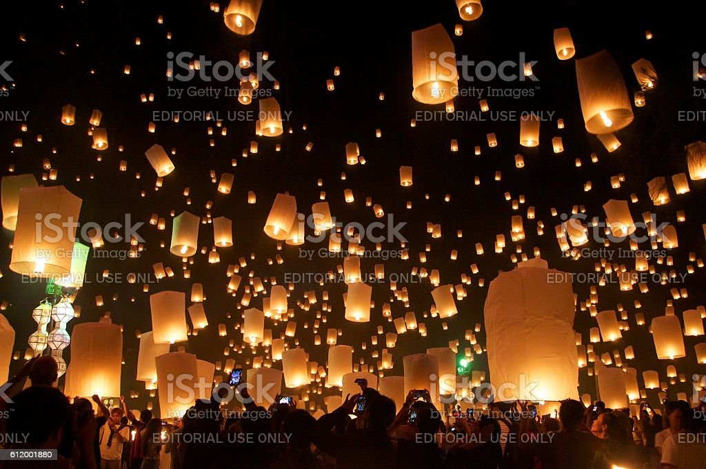 Loy Krathong celebrations, Thailand stock photo