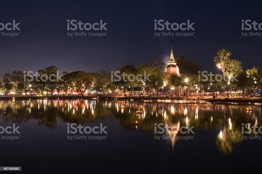Loy Kratong Festival at Sukhothai Historical Park stock photo