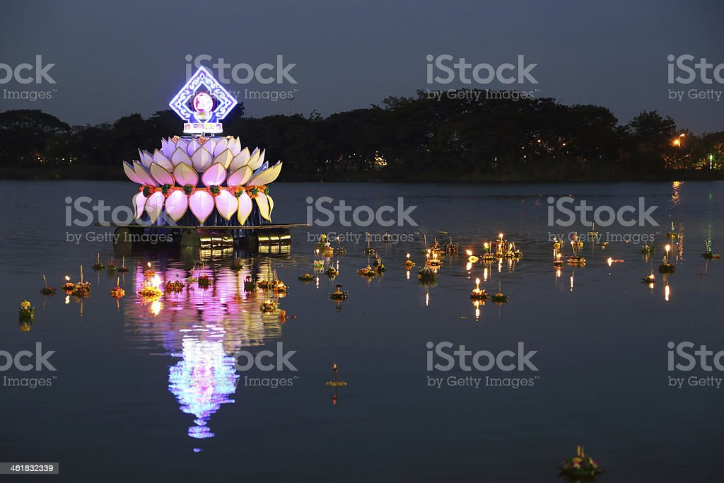 Loy kratong festival thailand stock photo