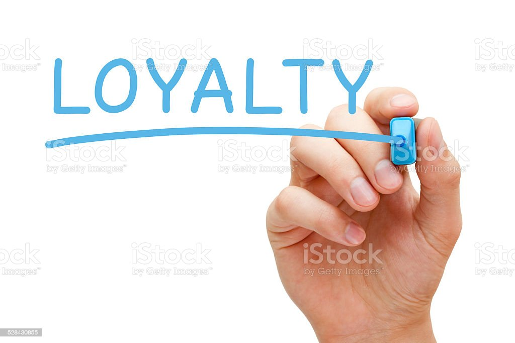 Loyalty Blue Marker stock photo