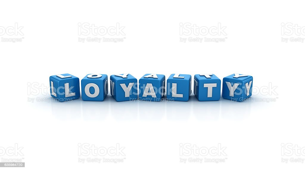 Loyalty Buzzword Cubes - 3D Rendering stock photo