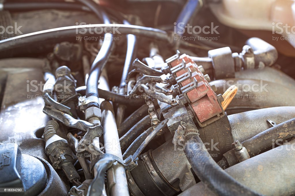 lpg car injectors in old car engine need to service, stock photo