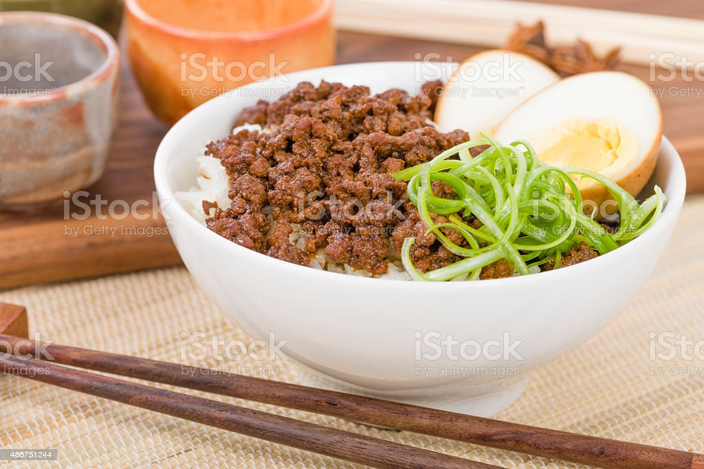 Lu Rou Fan (Taiwanese Braised Pork Rice Bowl) stock photo