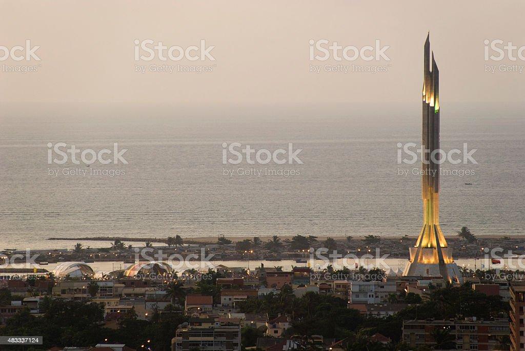Luanda Panorama at Sunset with Agostinho Neto Mausoleum stock photo