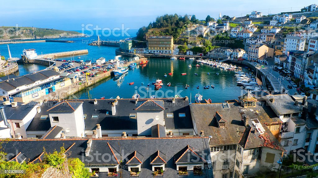 Luarca from up high stock photo