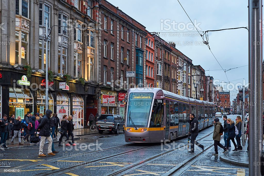 Luas tram early evening stock photo