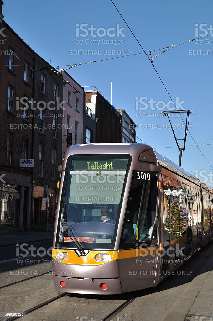 Luas Tram on the streets of Dublin stock photo