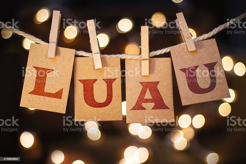 Luau Concept Clipped Cards and Lights stock photo