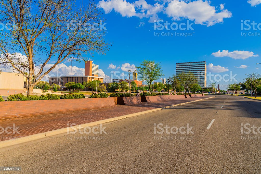 Lubbock skyline cityscape with spring foliage,TX stock photo
