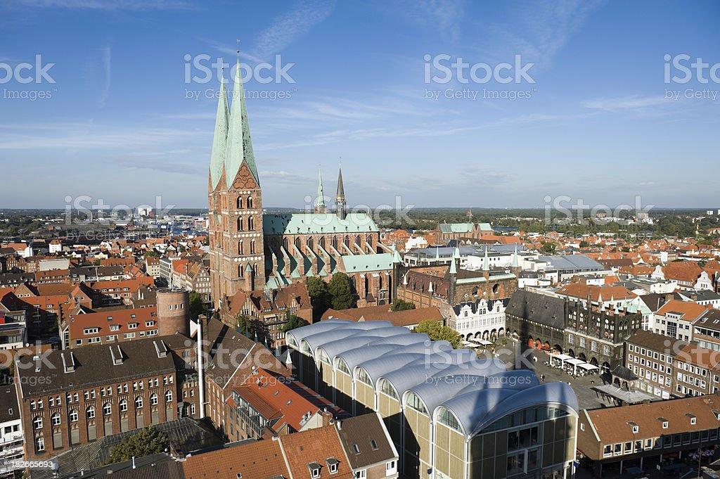 Lubeck Germany and Marienkirche stock photo