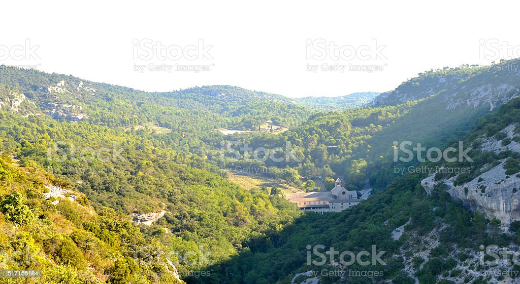 Luberon: countryside around the abbey of Senanque stock photo