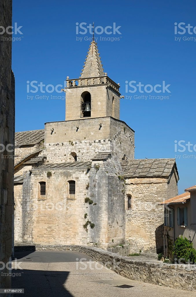 Luberon : the church of Venasque stock photo