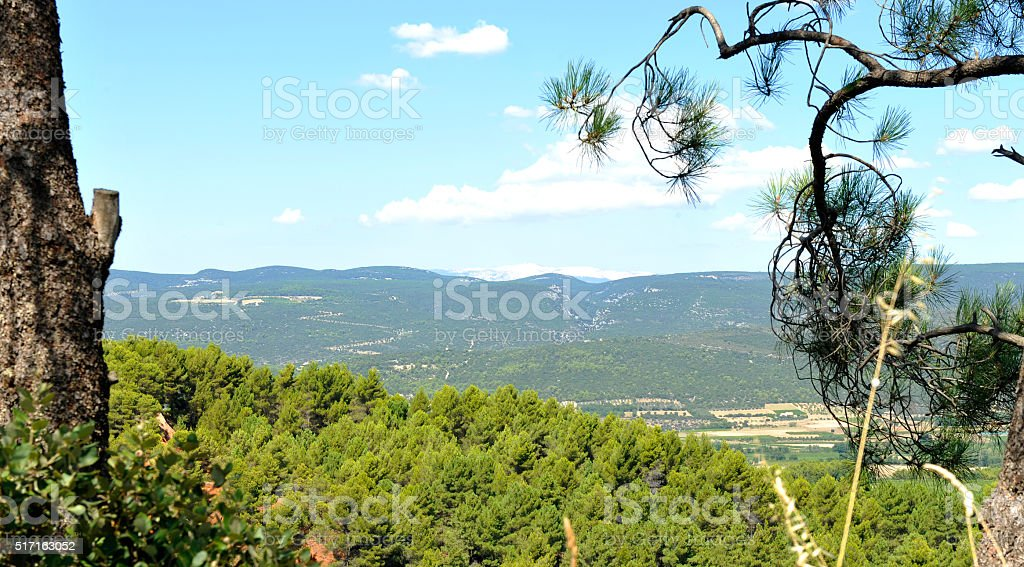 Luberon : the countryside from Roussillon stock photo
