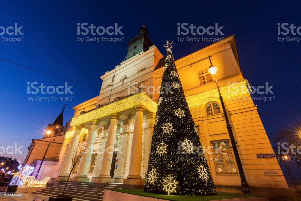 Lublin City Hall during Christmas stock photo