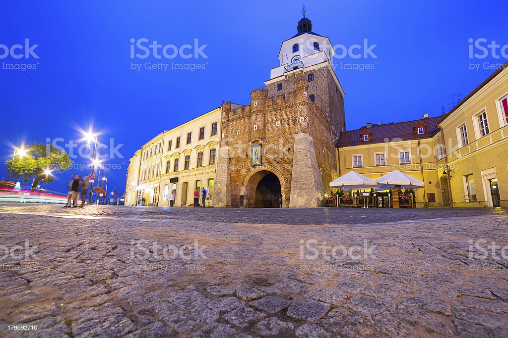 Lublin old town at night stock photo