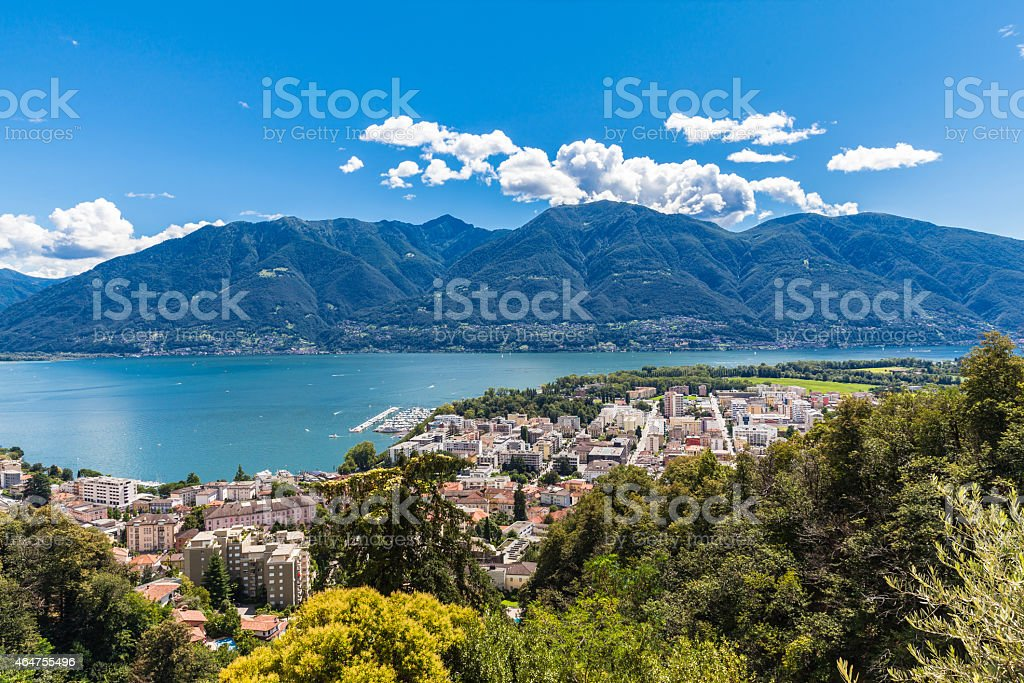 Lucarno city and lake stock photo