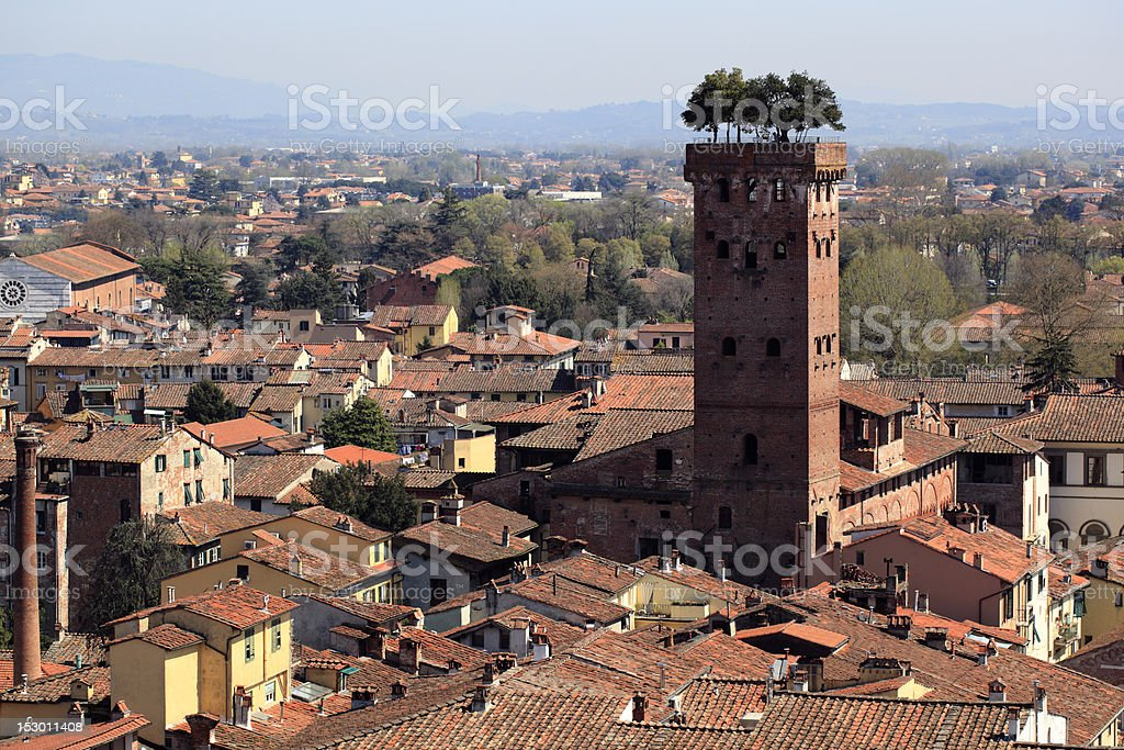 Lucca and the Guinigi Tower stock photo