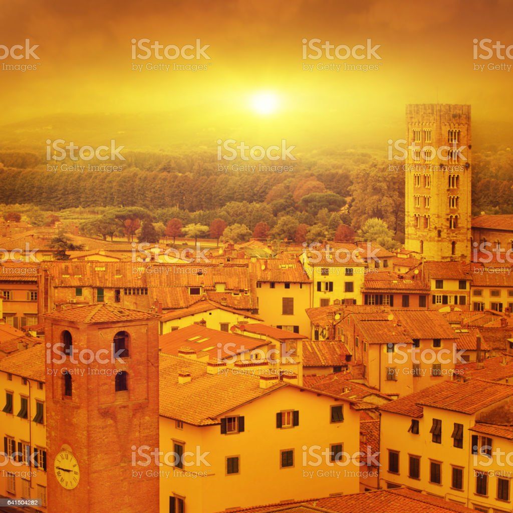 Lucca at sunset, old town in Tuscany. stock photo