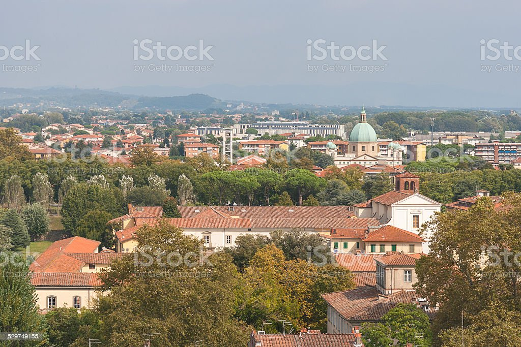 Lucca cityscape from the Guinigi tower, Italy stock photo