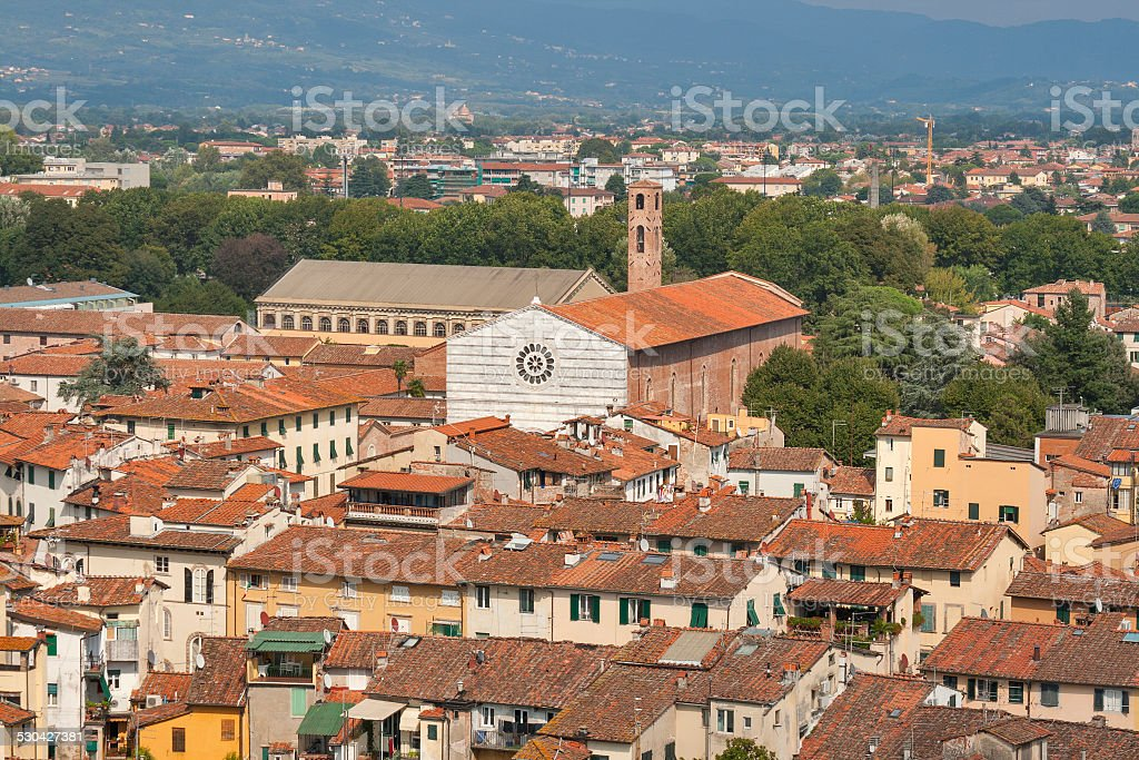 Lucca cityscape with church of San Francesco stock photo