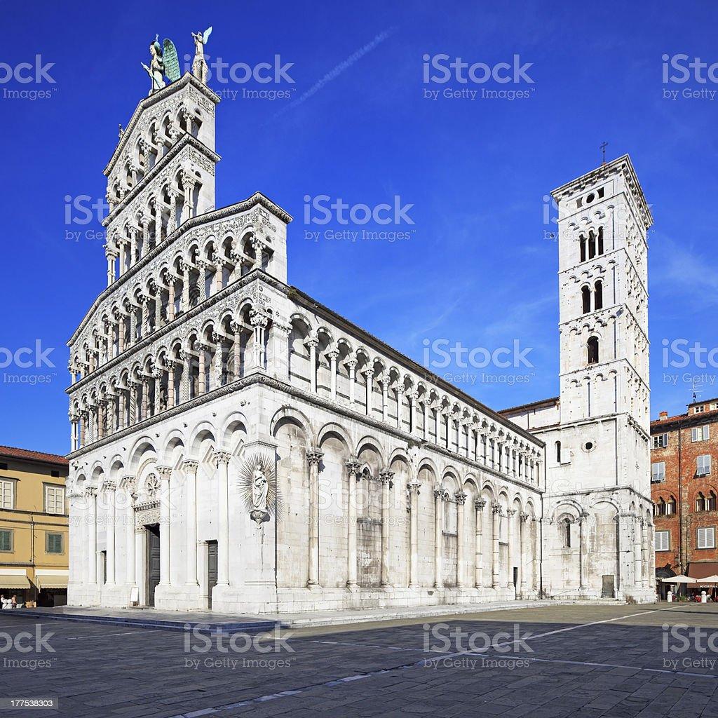 Lucca landmark, San Michele in Foro church.  Tuscany, Italy. stock photo